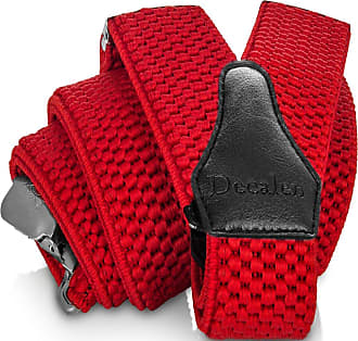 Decalen Mens Braces with Very Strong Clips Heavy Duty Suspenders One Size Fits All Wide Adjustable and Elastic Y Style (Red)