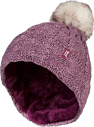 Heat Holders Ladies Warm Knit Fleece Lined Cuffed Thermal Winter Bobble Hat with Pom Pom (One Size, Pink)