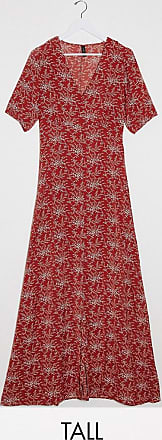 Y.A.S. Tall Jelica short sleeve floral print maxi dress-Red