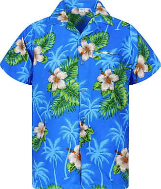 V.H.O. Funky Hawaiian Shirt, Small Flower, Lightblue, 3XL