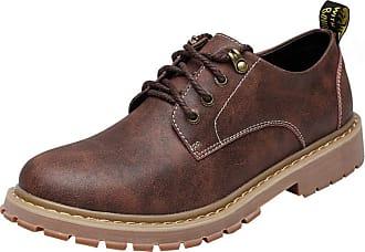 Insun Mens Leather Plain Toe Oxford Shoes Dark Brown UK 6.5