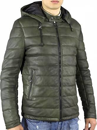 Leather Trend Italy Berlino - Piumino in pelle Uomo colore Verde Invecchiato