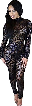 YOUJIA Romper for Women Bodysuit See-Through Backless Jumpsuit High Neck Catsuit Sequins Pants (Black, CN M)