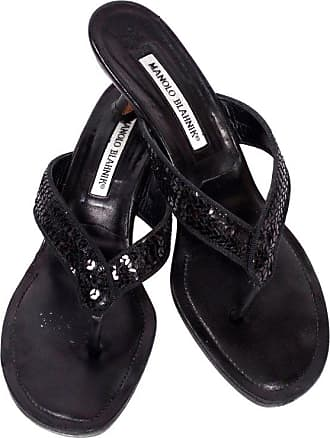 dae0460c1fd1 Manolo Blahnik Shoes Black Leather Thong Sandals With Sequins   Heels 38.5