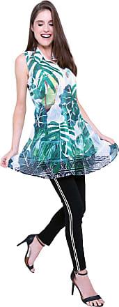 101 Resort Wear Vestido Chemise Evasê 101 Resort Wear Estampado Folhas Verde