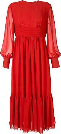 Karen Walker pleated waist midi dress - ORANGE