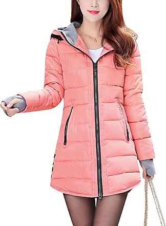 ZongSen Womens Long Down Coat Hooded Ultralight Packable Jacket Warm Coats Outwear Rubber Pink M
