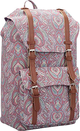 Quenchy London Backpack Casual Daypack for Girls and Women, Medium Canvas School Size A4 Bag 45cm x30x9 25 Litre QL916 (Pink Paisley)