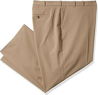 Van Heusen Mens Big and Tall Flex Flat Front Straight Fit Pant, Khaki, 50W x 32L