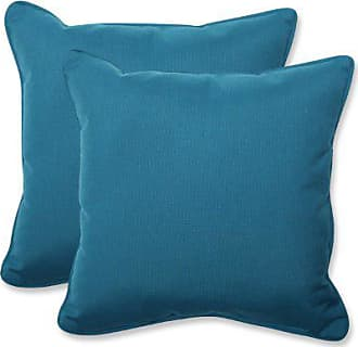 Pillow Perfect Indoor/Outdoor 18.5-inch Throw Pillow (Set of 2) with Sunbrella Spectrum Peacock Fabric, 18.5 in. L X 18.5 in. W X 5 in. D