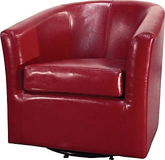 New Pacific Direct 193012B-67 Hayden Swivel Bonded Leather Char Accent Chairs, Red