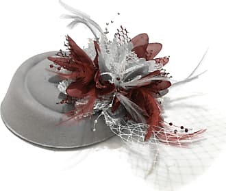 Caprilite Silver Grey and Burgundy Pillbox Fascinator Hat for Women Weddings Bird Cage Veil Clip