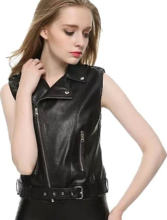 YOUJIA Womens Slim Lapel Faux Leather Vest Waistcoat Zip Up Classical Bomber Moto Jacket Sleeveless Belted Biker Jackets (Black, CN S)