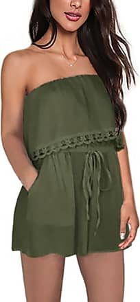 junkai Jumpsuit Rompers for Ladies - Loose Fit Overall Sexy Bandeau Off Shoulder Playsuit One Piece Short Dress for Holiday, Beach Army Green
