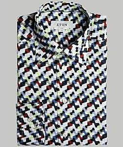 Eton Weißes, schmal geschnittenes, digitales Camoflage-Shirt - 17.5 - White/Blue/Red