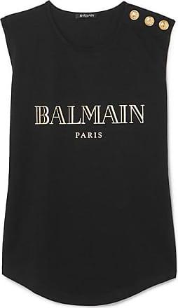 46a78f0f594 Balmain Button-embellished Printed Cotton-jersey Tank - Black