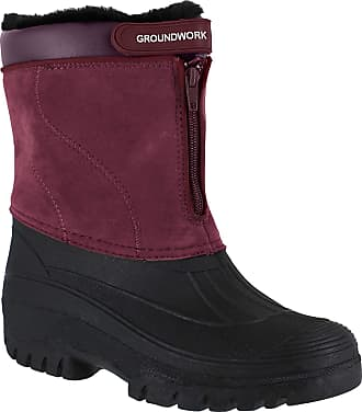 Groundwork GroundWork LS88W Womens Mucker Stable Yard Winter Snow Zip Up Boots Wellies - UK 8 Purple