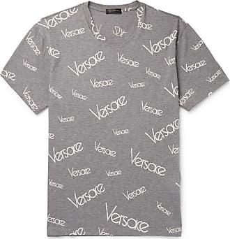 Versace Slim-fit Logo-print Mélange Cotton-jersey T-shirt - Gray