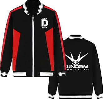 Cosstars Mobile Suit Gundam Anime Baseball Jacket Bomber Coat Adult Cosplay Zip-Up Streetwear Sweatshirt Cardigan Black 4 XXXL