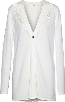 Elie Tahari Elie Tahari Woman Amber Lace And Crepe-paneled Merino Wool Cardigan Ivory Size S