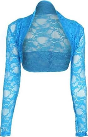 Top Fashion18 Womens Long Sleeve Lace Floral Ladies Cropped Short Shrug Bolero Cardigan Top 8-22 Turquoise