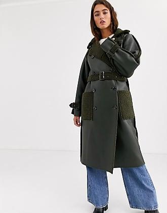 Topshop reversible faux shearling trench coat in khaki-Green
