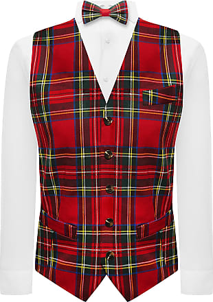King & Priory Traditional Red & Yellow Tartan Check Waistcoat, Bow Tie & Pocket Square Set - 2XL | 46in Chest