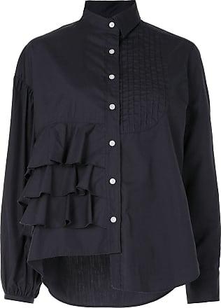 Kolor ruffled panel cotton shirt - Blue