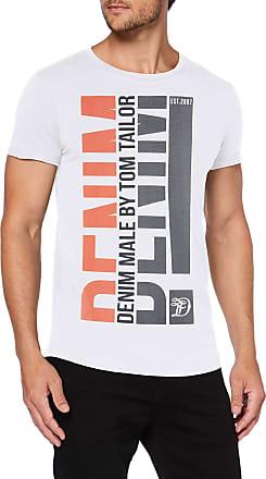 Tom Tailor Denim Mens Print T-Shirt, White (White 20000), X-Large