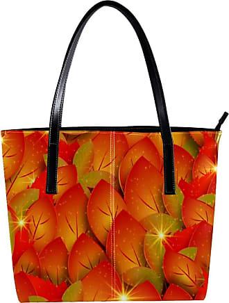 Nananma Womens Bag Shoulder Tote handbag with Shining Autumn Leaves Pattern Zipper Purse PU Leather Top-handle Zip Bags