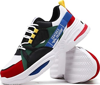 LanFengeu Men Trainers Summer Breathable Casual Mix Color Lace up Sneakers Lightweight Sport Walking Fitness Non Slip Running Shoes Red