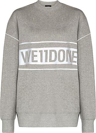 We11done Reflective Sweatshirt mit Logo-Print - Grau
