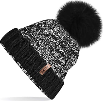 TOSKATOK Ladies Womens Ribbed Knitted Marl Winter Beanie Hat with Large Detachable Faux Fur Pom Pom Black