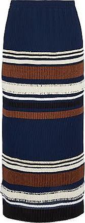 Derek Lam Derek Lam Woman Pleated Striped Crepe De Chine Midi Skirt Navy Size 40