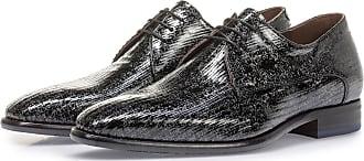 Floris Van Bommel Schwarzer Lackleder-Schnürschuh mit Metallicprint, Business Schuhe, Handgefertigt
