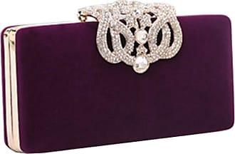 YYW Evening Bag, Womens Fashion Designer Crystal Diamante Clutch Bag Ladies Bridal Wedding Party Purse Handbag (Purple)