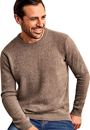 WoolOvers Mens Lambswool Crew Neck Jumper Vole Marl, XXL