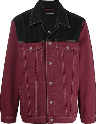David Catalán Jaqueta jeans color block - Vermelho