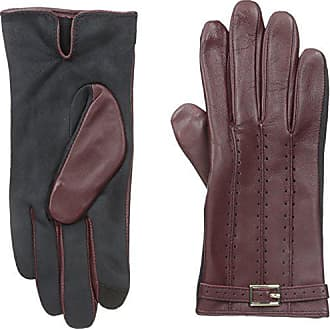 Adrienne Vittadini Womens Perforated Leather Touchscreen Gloves, Wine X-Large