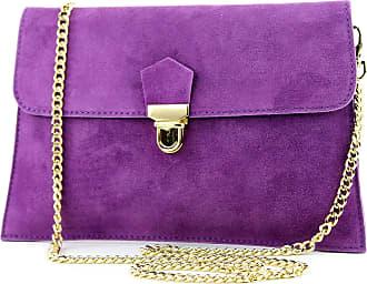modamoda.de Modamoda de - ital. Bag Wild leather clutch handbag city bag T206, Colour:purple