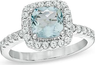 Zales 7.0mm Cushion-Cut Lab-Created Blue Spinel and White Sapphire Frame Ring in Sterling Silver - Size 7