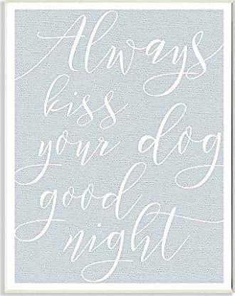 Stupell Industries Always Kiss Your Dog Goodnight Blu Targa da Parete Art, Proudly Made in USA, Legno,, 25.4 x 1.27 x 38.1 cm