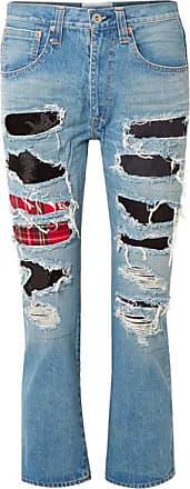 Junya Watanabe Patchwork Distressed High-rise Straight-leg Jeans - Blue