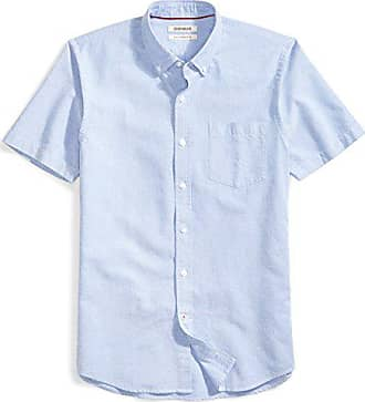 Goodthreads Mens Slim-Fit Short-Sleeve Solid Oxford Shirt with Pocket, Blue, Medium