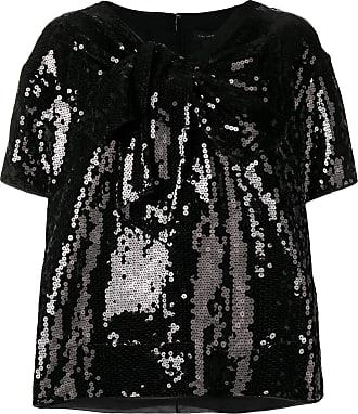 Marc Jacobs Camiseta gola V de seda com paetês - Preto