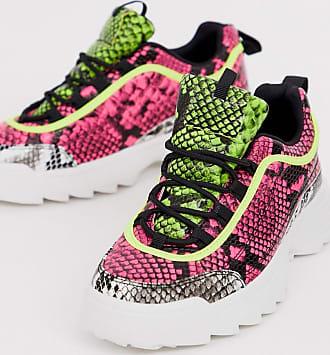 Qupid Qupid - Sneakers con suola spessa e stampa pitonata fluo-Multicolore