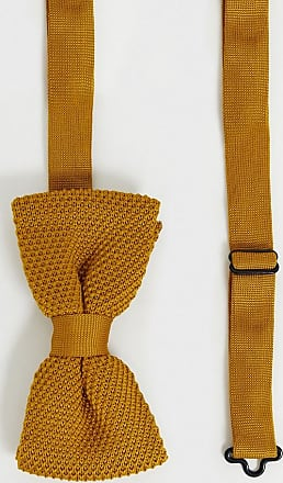 Twisted Tailor knitted bow tie in mustard-Yellow