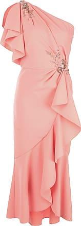 Marchesa beaded floral one-shoulder dress - Pink