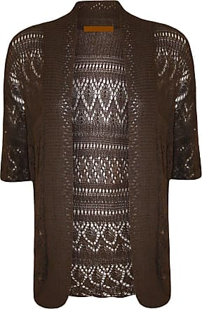 ZEE FASHION Women Ladies Knitted Bolero Crochet Shrug Open Cardigan Plus Size UK 8-30 Brown