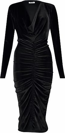 Islander Fashions Womens Crushed Ruched Velvet Cowl Neck Midi Dress Ladies Long Sleeve Midi Dress Black X Large